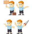 Red Head Boy Customizable Mascot 3 vector image
