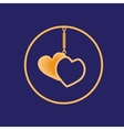 Golden sharmik in the form of two hearts in a vector image