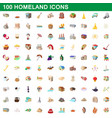 100 homeland icons set cartoon style vector image
