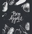 bon appetit poster banner black and white vector image
