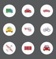 flat icons bicycle aircraft cab and other vector image