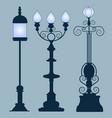 collection street lamps art nouveau style vector image