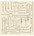 Medieval weaponry linear icons vector image