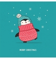 Cute happy penguin - Merry Christmas greetings vector image vector image