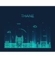 Thane skyline silhouette linear style vector image