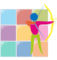 Sport icon design for archery in colors vector image