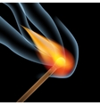 burning wooden match vector image