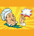 chef points his finger gesture vector image