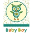 Colorful baby shower card with cute owl vector image