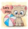 Cute Kitten with a ball vector image