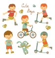 Cute little boys vector image