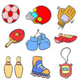 doodle of sport equipment style various vector image