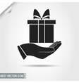 Gift Box on Hand Pictograph icon Surprise sign vector image