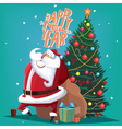 Happy New Year red Father Christmas with spruce vector image