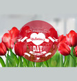 valentine red tulip background with a close up vie vector image