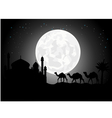silhouette of camel trip in the night vector image vector image