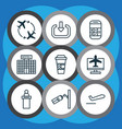 set of 9 airport icons includes video vector image