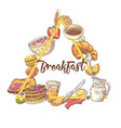 healthy breakfast hand drawn design with toasts vector image