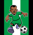 Nigeria soccer player with flag background vector image