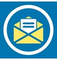 Open mail flat yellow and white colors rounded vector image