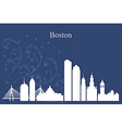 Boston city skyline on blue background vector image vector image