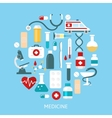 Flat Medicine Round Poster vector image