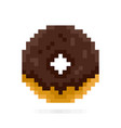 chocolate donut in pixel style dessert and sweets vector image