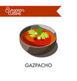 cold gazpacho soup from european cuisine isolated vector image