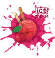 ice cream cherry ball fruit dessert choose your vector image