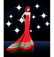 Lady in Elegant Red Long Dress vector image