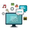 monitor social media design isolated vector image