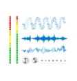 notes buttons and sound waves vector image