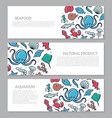 set of three digital fish and seafood horizontal vector image