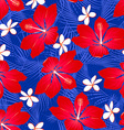 Tropical palm leaves with hibiscus flowers vector image