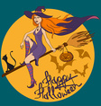 Halloween with witch vector image