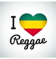 I love Reggae Heart Jamaican music vector image