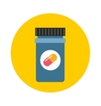 Medicine bottle in flat style isolated on color vector image