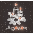 Christmas Card With Sketch Candles vector image