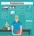 pediatrician and medical equipment icons vector image