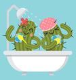 loving couple of cactus take a bath vector image