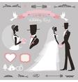 Wedding decor setRetroFlat silhouette bride vector image
