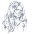 Monochrome hand-drawn image flirting young woman vector image
