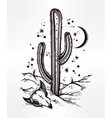 Hand drawn romantic beautiful desert landscape vector image
