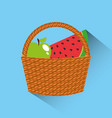 basket with fruits icon vector image