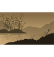 landscape with bamboo silhouette vector image