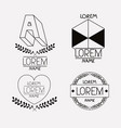 vintage insignias sketch set in monochrome vector image