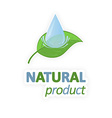 Green leaf with water drop Natural product vector image