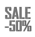 iron inscription discount for minus fifty percent vector image
