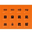 Password icons on orange background vector image