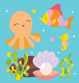 Cute sea characters vector image